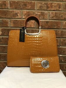 Dasein Brown Embossed Faux Patent Leather Satchel with Wallet/Wristlet - NWT