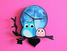 Owl with Baby Blue Moon - Pendulum Wall Clock