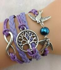 Infinity Purple Bracelet Infinite Leather Braided Birds Tree of Life Peace Charm