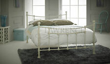 Chester Small Double 4ft Metal Frame Bed In Textured Cream ** FRAME ONLY **