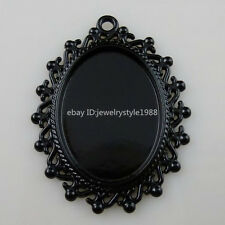 10346 10PC Alloy Black Oval Frame Base Tray 25x18mm Cameo Setting Pendant