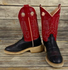 Old West Cowboy Boots Red Black Youth Young Mens Size 5.5 Country Western