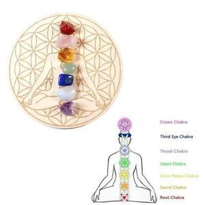 Natural Chakra Crystal Healing Stones+Star Array Wood Plate Energy Generator set