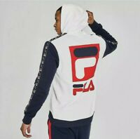 Mens Fila Jacopo Hoodie White/Peacoat/Chinese Red - LM935399 100 Size small