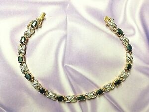 Sapphire X's & O's Tennis Line Bracelet Gold over .925 Sterling Silver