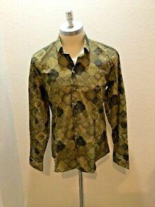 Patrizia Pepe Camicia/Shirt, Urban Print Design Long Sleeve, 7 Button Closure L