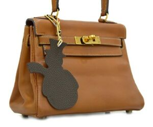 Auth Hermes Petit H Snowman Bag Charm Cuivre Red Cafe Dk Chocolate Gold Silk