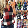 Womens Plaid Checked T-Shirt Blouse Long Sleeve V-Neck Casual Pullover Top Shirt