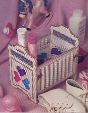 Crib Beaded Basket, Doll Bed, Baby Supplies Caddy Plastic Canvas Pattern NEW