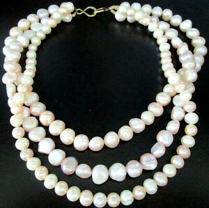 Magnifique Véritable Perle Rose Argent Sterling Triple Strand Collier
