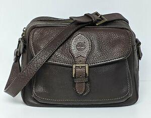 VINTAGE Timberland Pebbled Leather Crossbody Shoulder Bag Dark Brown