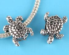 2pcs Tibetan silver turtle Charm Spacer beads fit European Bracelet Chain #V23