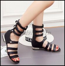 Plus SZ Ladies Peep Toe Roman Sandal Boots Hollow Out Gladiator Summer Shoes UK