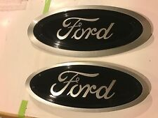 2017 FORD F-250 Black & Ingot Silver LOGO & out edge, Emblem SET, FRONT & REAR