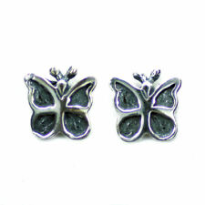 .925 Solid Sterling Silver Butterfly Papillion Stud Earrings Pair E022 6mm