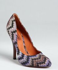 MISSONI Purple Wavy Fabric Covered Leather Pumps made in italy sz 36.5