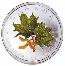 2002 FINE SILVER 5 DOLLAR COIN - COLOURED MAPLE LEAF: SPRING - CASE WITH COA