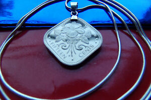 """FLORAL BEAUTY BAHAMAS HIBISCUS Coin Pendant  28"""" 925 Sterling Silver Snake Chain"""