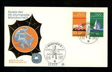 Postal History Germany Fdc #B485-B488 Set Of 2 Olympic sports games 1972