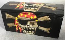 WOOD PIRATE TREASURE JOLLY ROGER SKELETON BOX HALLOWEEN HANDPAINTED CARVED