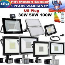 LED Floodlight 30W 50W 100W 200W PIR Sensor US Plug Lamp Security Flood Light