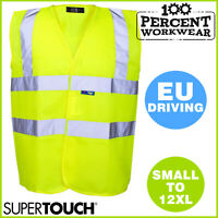 High Visibility Waistcoat Reflective Vest Work Safety Hi Vis Viz EU Drivers HGV