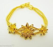 Flower 22K 23K 24K Thai Yellow Gold Plated Bangle Bracelet Women Jewelry