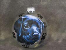 """HAND MADE BLACK LABRADOR RETRIEVER PUPPY DOG 4"""" GLASS CHRISTMAS ORNAMENT/BALL"""