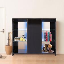 LED Lights Cabinet Sideboard Side Table Storage High Gloss Doors Matt Body Black