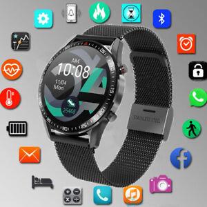 Herren Smartwatch Metall Armband Herzfrequenz Pulsuhr Blutdruck Fitness Tracker