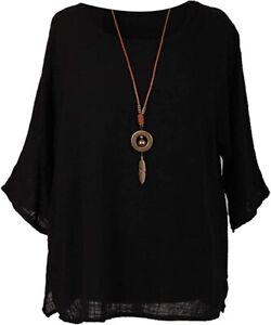 NEW Womens Italian Cotton Plain Ladies Lagenlook Summer Shirt Necklace TOP