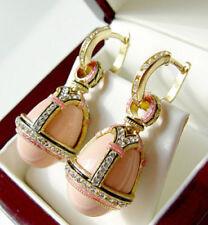 Collane e pendagli di lusso con gemme rosa ovale in pietra principale corallo