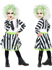Childs Beetlejuice Fancy Dress Halloween Costume Girls Kids 80s Movie Film