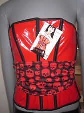 NWT Coquette-Corset Red/Black Wet Look W/ Skulls Back Tie Size M