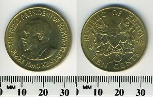 Kenya 1978 - 10 Cents Nickel-Brass Coin - President Mzee Jomo Kenyatta