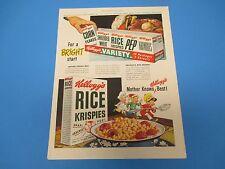 "1948 KELLOG`s Rice Krispies Corn Flakes ""Mother Knows Best!"" Print Ad PA001"