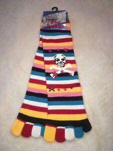 Stripey Striped Toe Socks Pirate Motif Rainbow Emo Punk Fun Gift Birthday