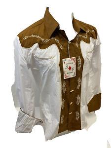 Men RODEO WESTERN COUNTRY KHAKI BROWN STITCH TRIBAL SNAP UP Shirt Cowboy 05550