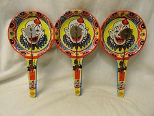 Vintage Circus Clown Noise Makers Metal Clapper Antique Toys Lot of 3