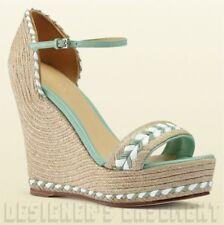 GUCCI mint Green 38.5 leather TIFFANY platform Espadrille WEDGE shoes NIB Authen
