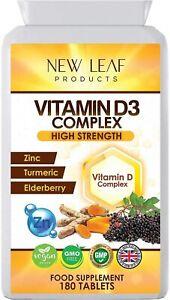 Vitamin D D3 2000IU Super Strength Complex, 1 A Day Small Tablet - Vegan UK MADE