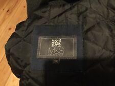 M&S Da Uomo Cappotto Invernale Imbottito 3/4 Lunghezza Blu Scuro