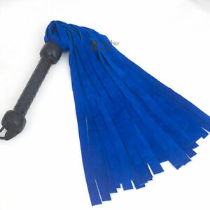 Real Genuine Cow Hide Suede Leather Flogger 25 Falls Blue Heavy Duty