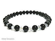 Black Onyx & luccicante Rainbow Cristalli Swarovski con perline braccialetto moda Stretch