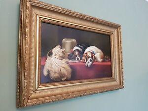 Fine large J Morris Oil Painting LANDSEER  CAVALIER KING CHARLES SPANIELS DOGS