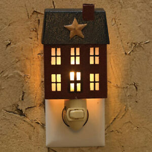 Saltbox House Home Place Primitive Country Night Light Wall Plug In Park Designs