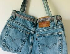 Handmade Levis jeans bag with embellishments vintage
