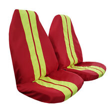 Pair GT Racing Style Red Yellow Throw Over Slip On Car Seat Covers For Mazda