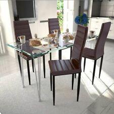 vidaXL Mesa + 4 Sillas Conjunto Comedor Cocina Sala Moderno Set Marrón Slim Line