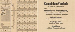 Drittes Reich, Bezugsausweis für Speisekartoffeln,1944/45, ksfr.